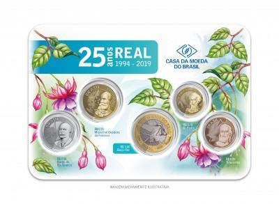 Set de Moedas do Real 2019 -25 Anos do Plano Real (Bister Oficial da Casa da Moeda do Brasil)