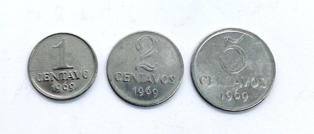 Set Padrão monetário Cruzeiro Novo 1969 - 1,2 e 5 Centavos