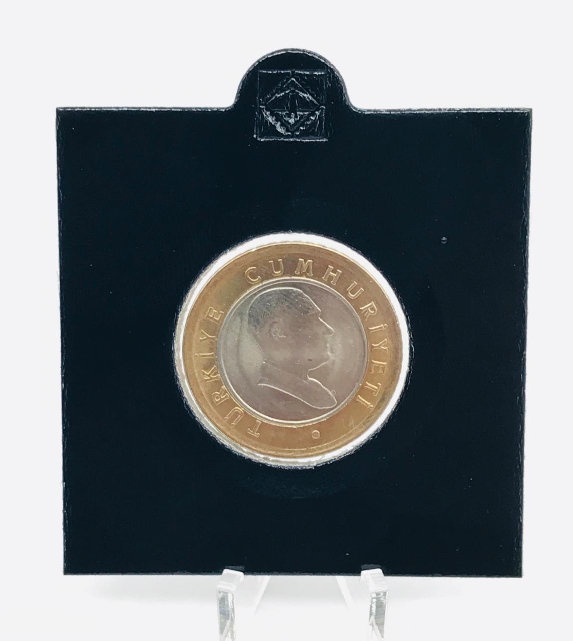 Moeda Turquia Bimetálica 50 Kurus 2005