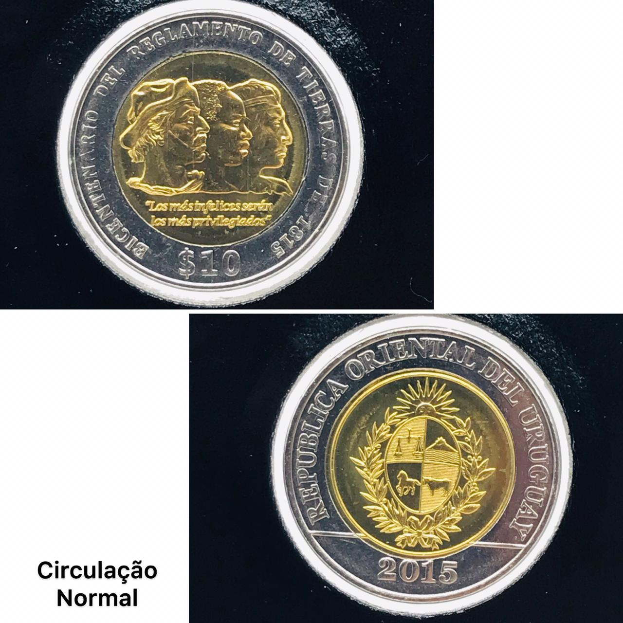 Moeda Uruguai Bimetálica -  Comemorativa Bicentenária  1815