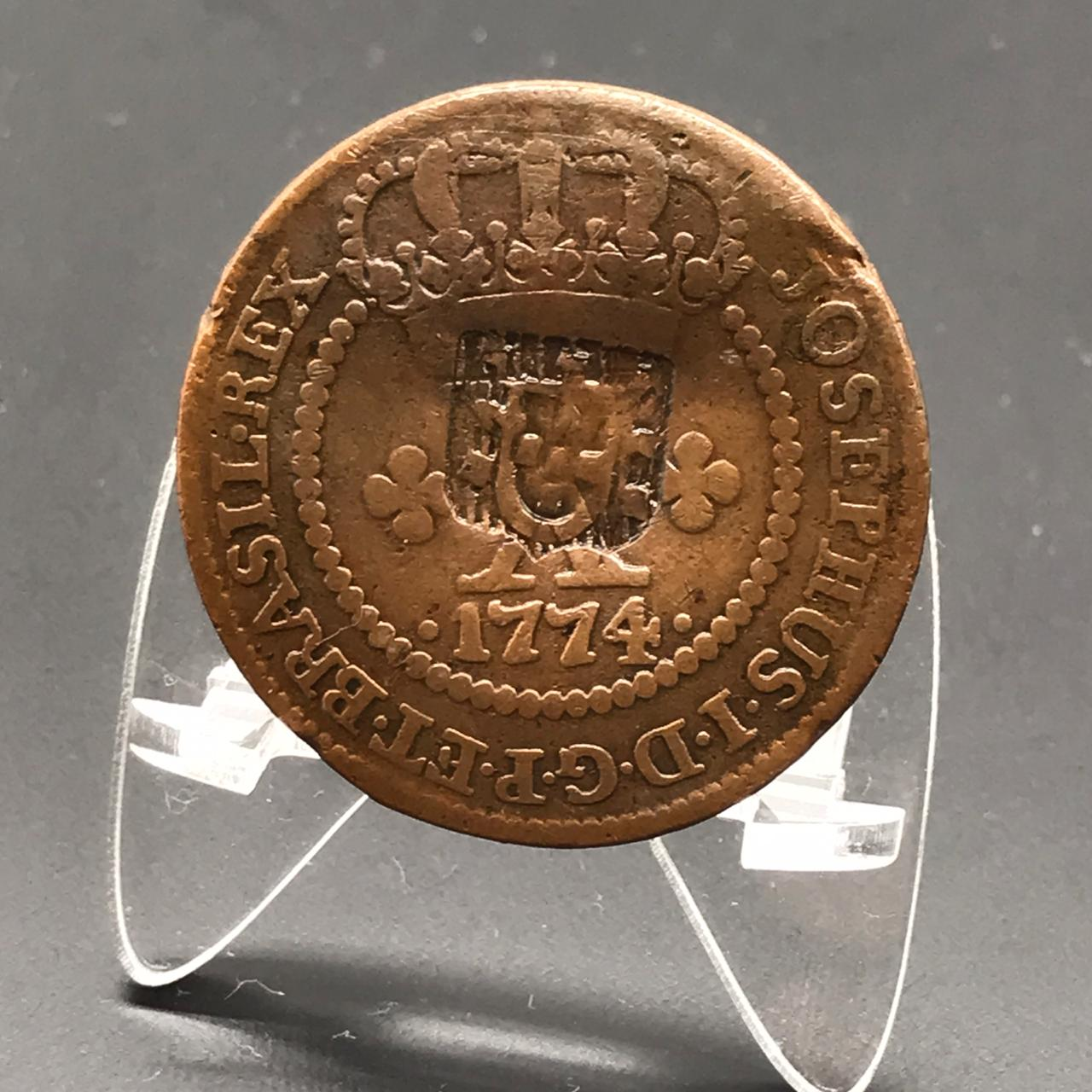 X RÉIS 1774 16 PÉROLAS  CARIMBO ESCUDETE