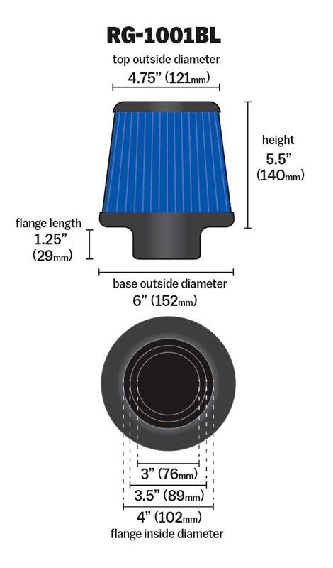 Filtro De Ar Universal K&n Duplo Fluxo Azul Rg-1001bl