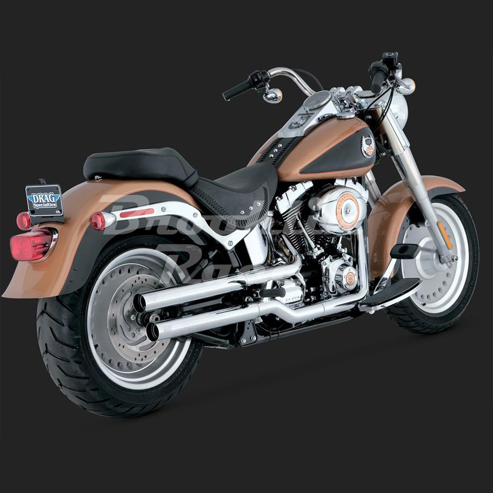 Ponteira 3´´ Vance & Hines Twin Slash - Cromada - Softail Fat Boy 2007 - 2017