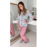 Pijama Fem. Aberto Micro Soft Floral