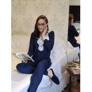 Pijama Feminino Longo 3 Botões em Viscolycra com Renda - Azul Marinho