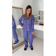 Pijama Fem. Longo Aberto Flanela Xadrez