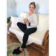 Pijama Feminino Longo em Viscolycra Petit Poá com Renda