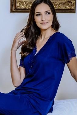 Pijama Feminino 3 Botões em Viscolycra - Azul Marinho