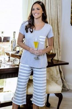 Pijama Feminino Calça Pantacourt Listrado