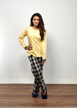 Pijama Feminino de Flanela Xadrez Amarelo
