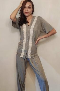 Pijama Feminino em Viscolycra com Guipir