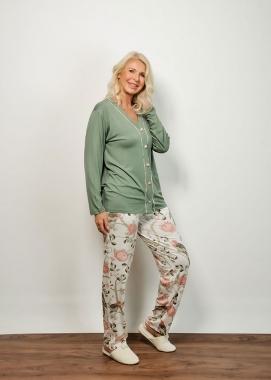 Pijama feminino floral com botão