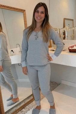 Pijama Feminino Longo Suedine Dupla Face Ilhós