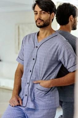 Pijama Masculino Aberto Tricoline Xadrez