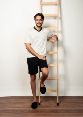 Pijama Masculino Curto Listrado Off White