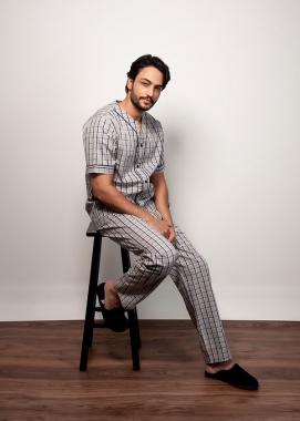 Pijama Masculino Curto Xadrez Cinza