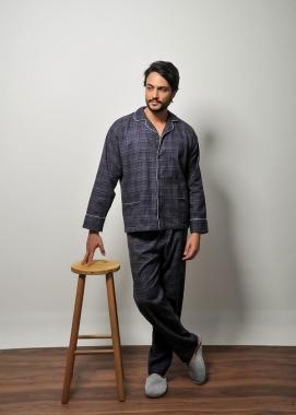 Pijama Masculino de Flanela Xadrez Azul