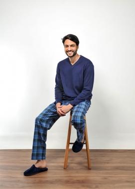 Pijama Masculino de Flanela Xadrez Marinho