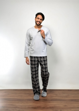Pijama Masculino de Flanela Xadrez Preto