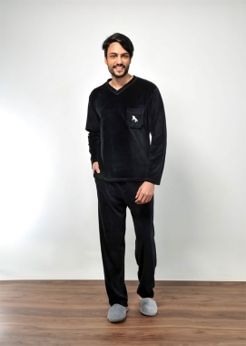 Pijama Masculino Longo de Inverno Plush com Bolso
