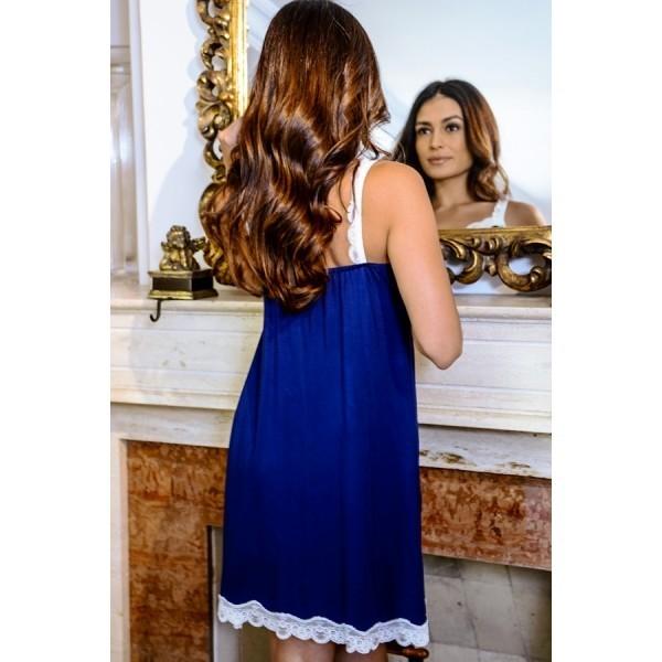 Camisola de Alça com Renda em Viscolycra Azul