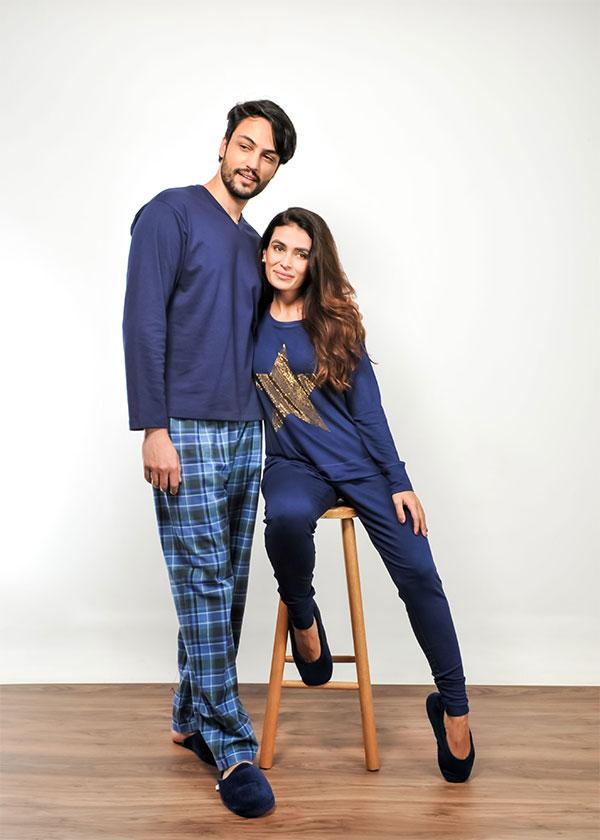 Kit Casal Pijama Estrela - Azul