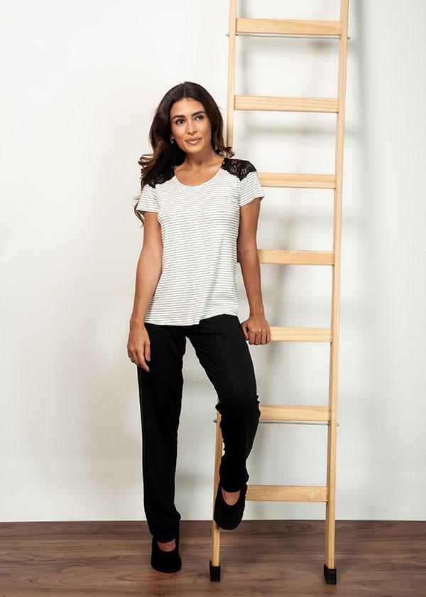 Kit Casal Pijama Listrado em Viscolycra - Off White