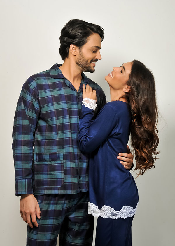 Kit Casal Pijama Longo - Azul