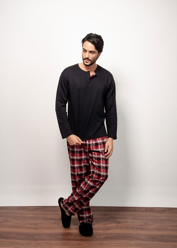 Kit Casal Pijama Longo Calça Flanela e Blusa Suedine - Vermelho
