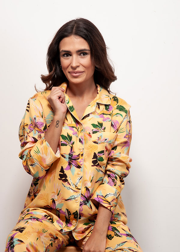 Pijama americano feminino floral