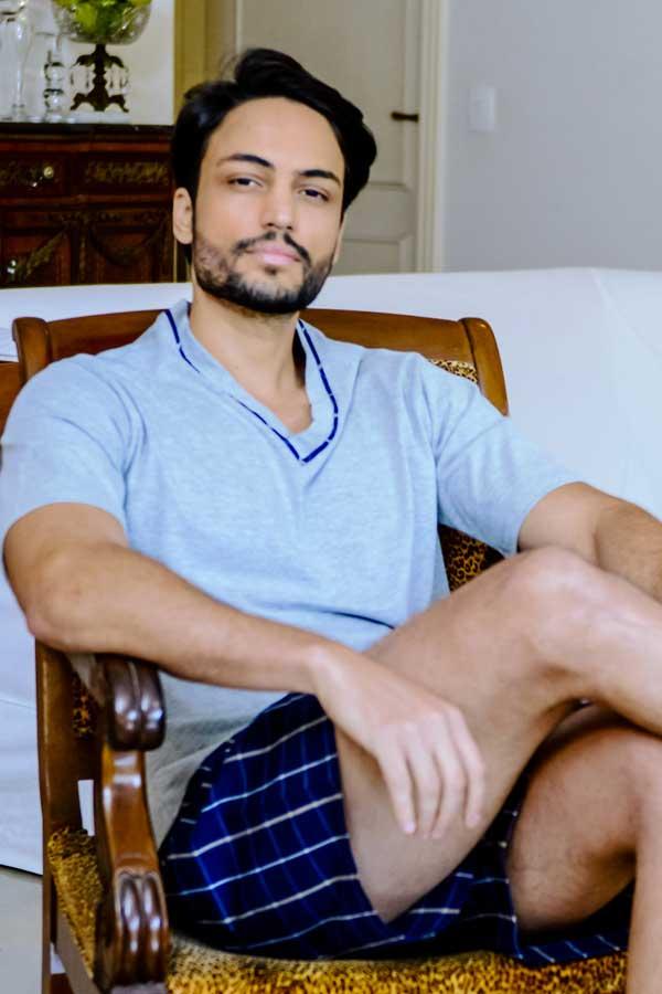Pijama Curto Masculino de Algodão