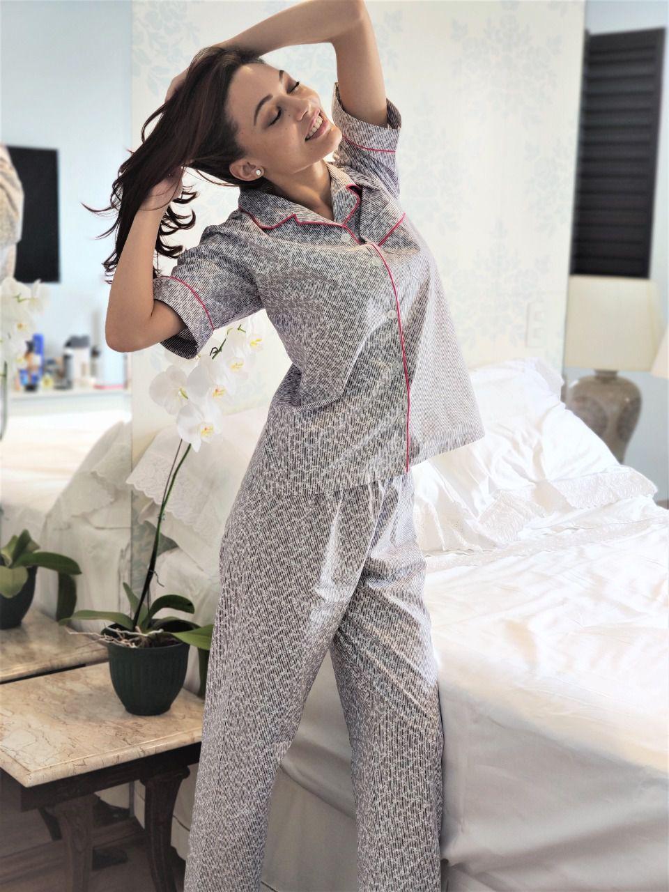 Pijama Feminino Aberto Calça e Manga Curta Algodão