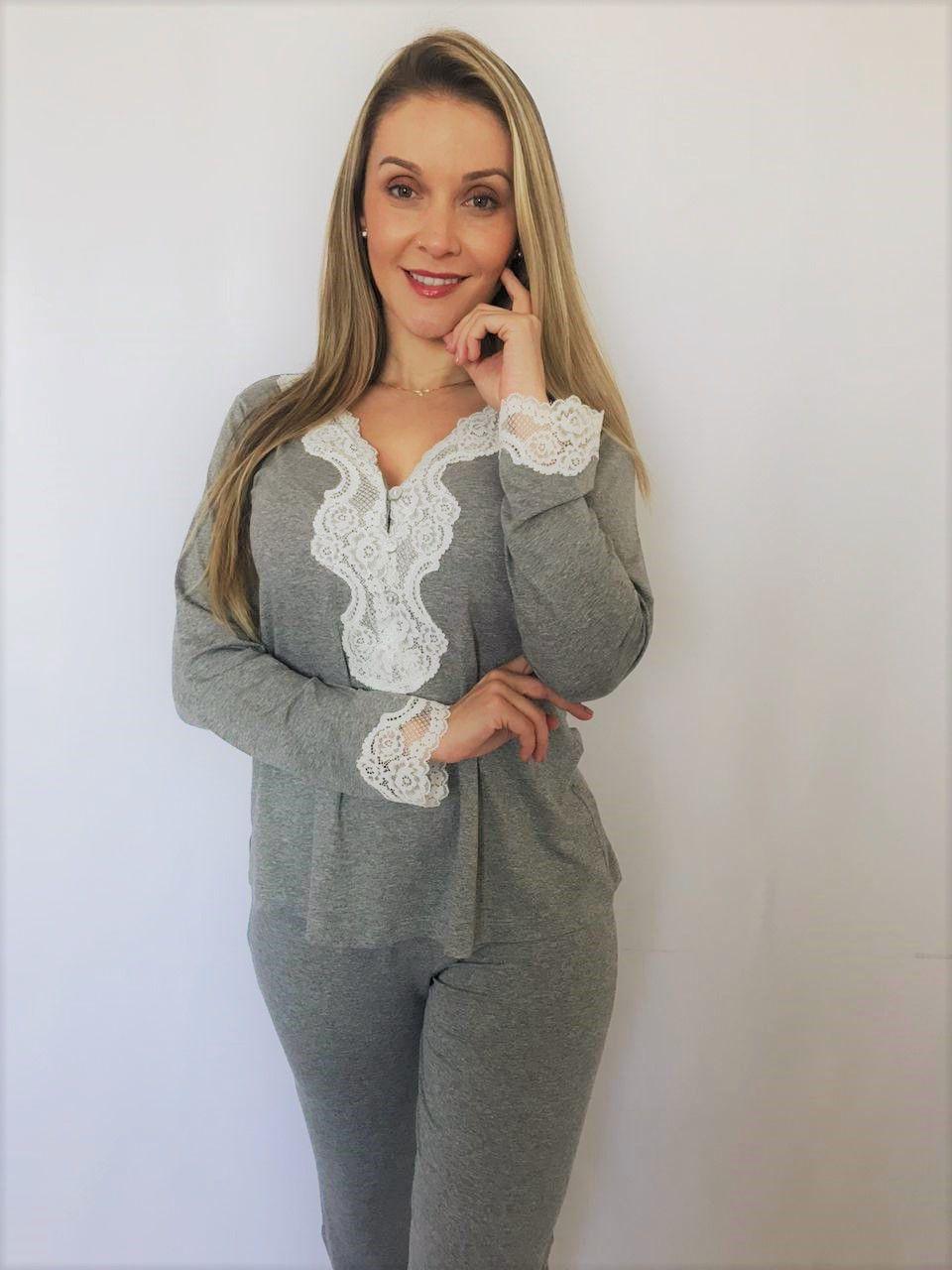 Pijama Feminino Longo 3 Botões em Viscolycra com Renda - Mescla