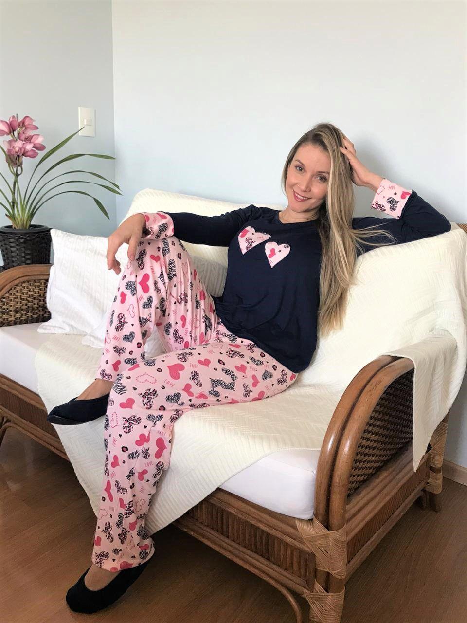 Pijama Feminino Longo Blusa Viscolycra Calça Ribi Coração