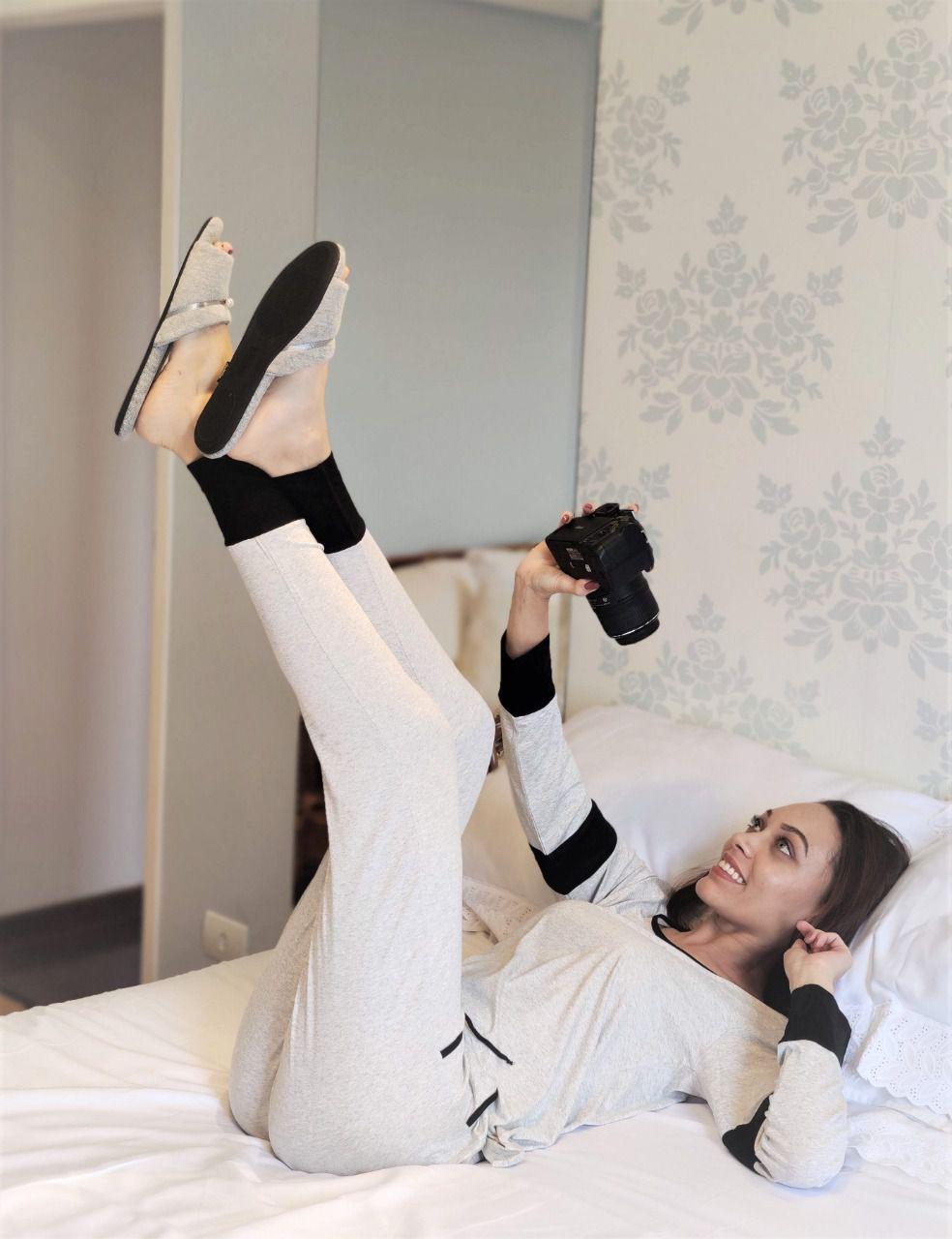 Pijama Feminino Longo Calça Legging em Viscolycra com Bolso