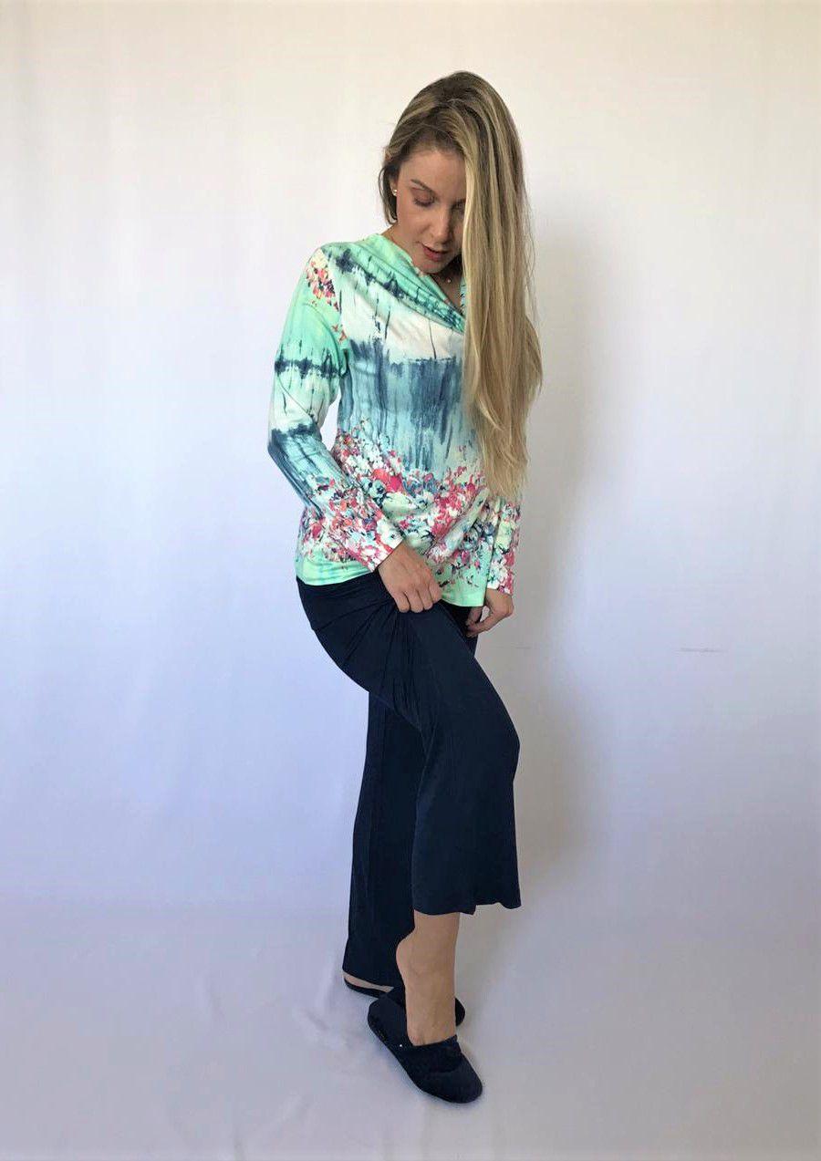 Pijama Feminino Longo Calça Pantalona e Blusa Gola Drapê em Viscolycra