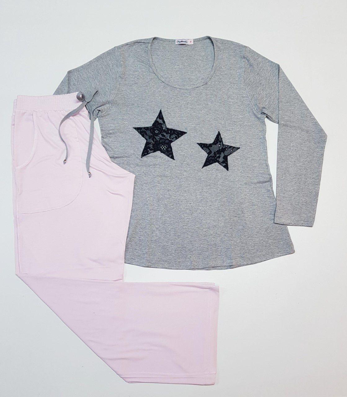 Pijama Feminino Longo Calça Pantalona e Blusa Longa em Viscolycra