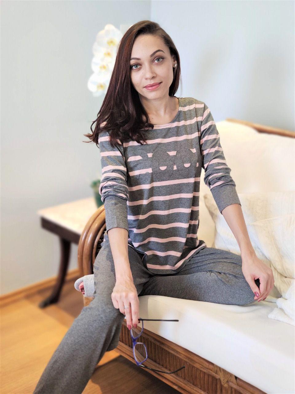 Pijama Feminino Longo em Viscolycra Listrado COOL