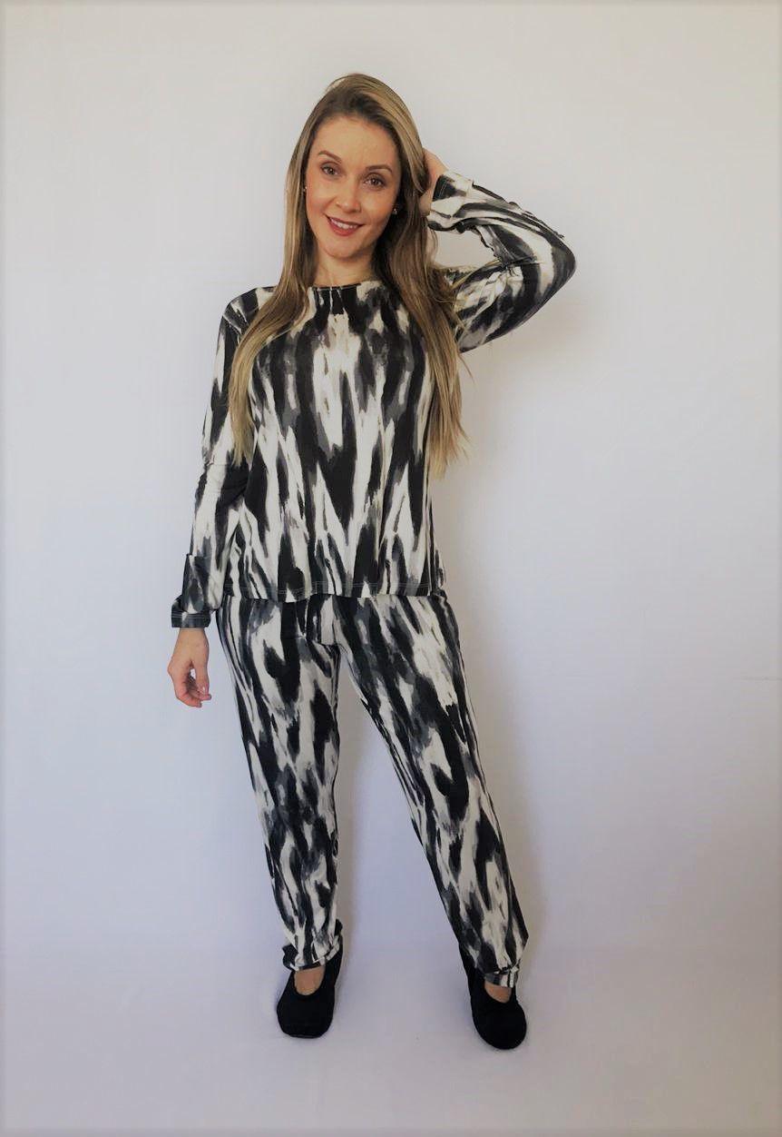 Pijama Feminino Longo em Viscolycra Tie Dye