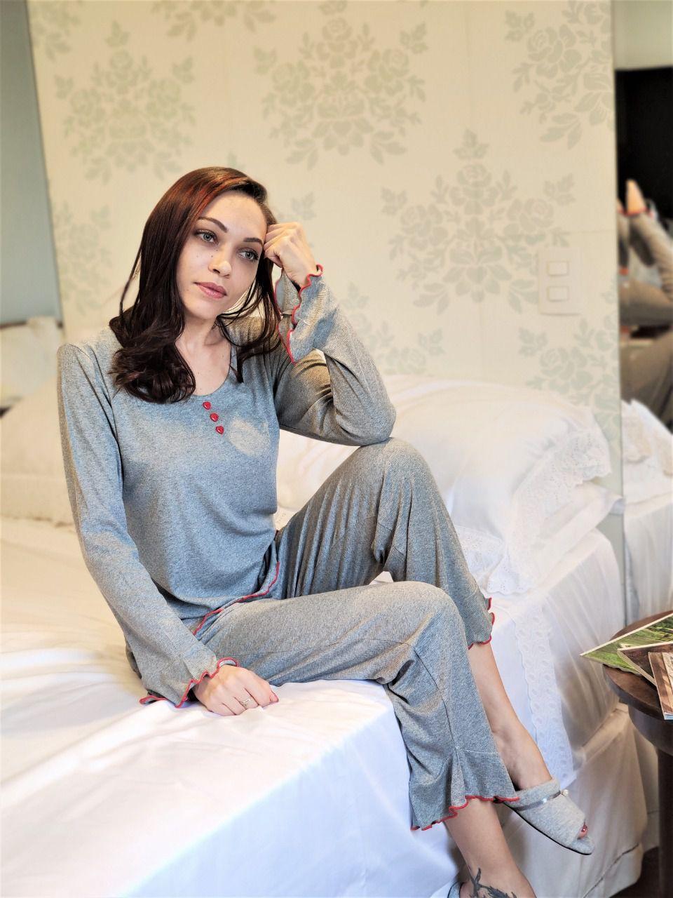 Pijama Feminino Longo Malha Ribi Com Babado