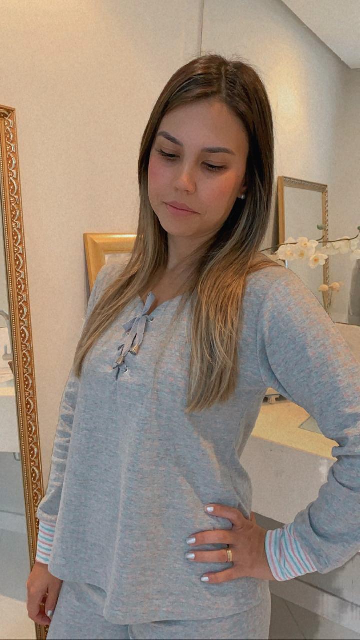 Pijama Fem. Longo Suedine Dupla Face Ilhós