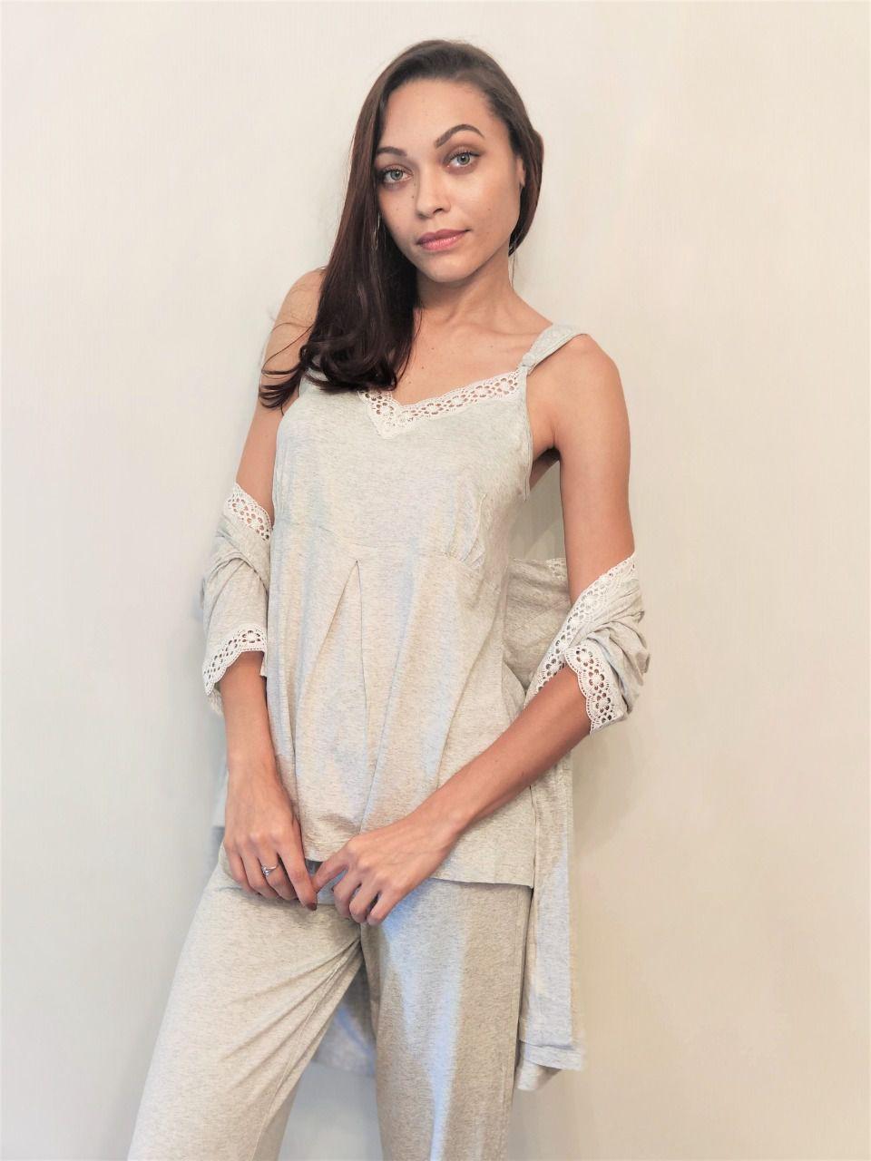 Pijama Feminino Três Peças em Viscolycra Gestante