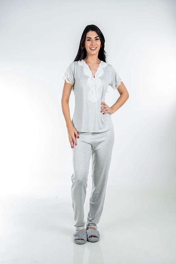 Pijama de botão feminino com renda Mescla