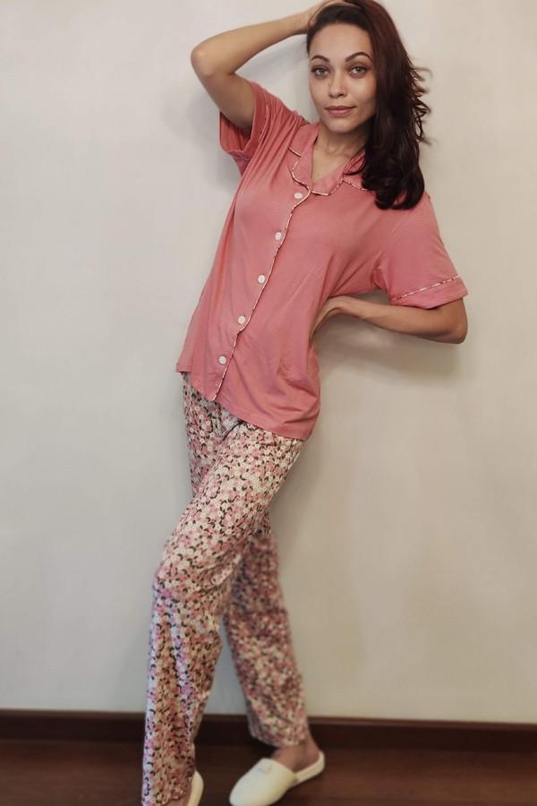 Pijama Feminino Aberto Calça e Manga Curta em Viscolycra
