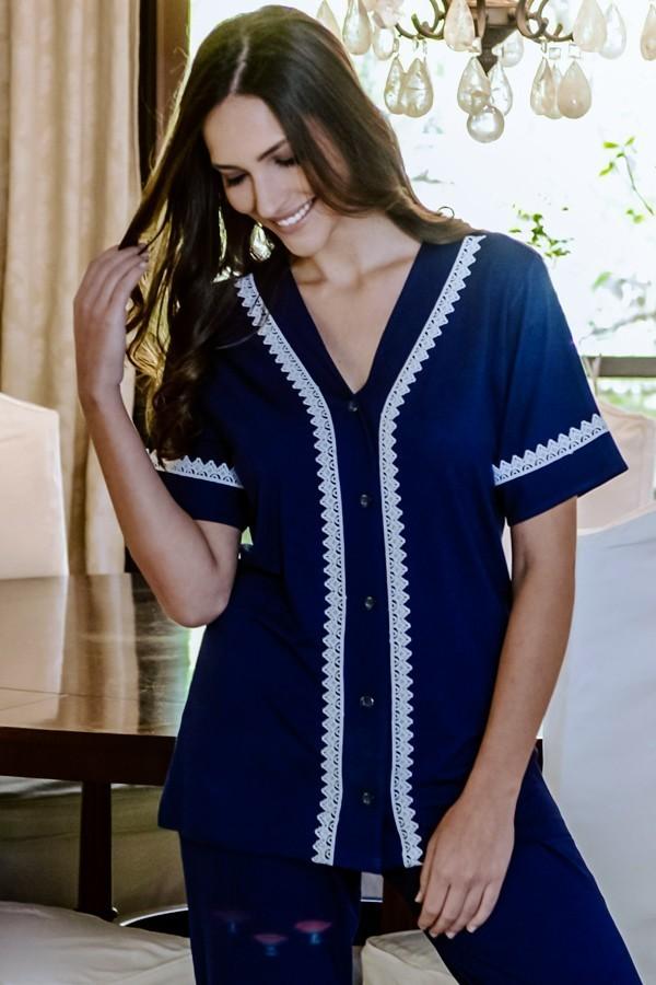 Pijama Feminino Aberto com Guipir