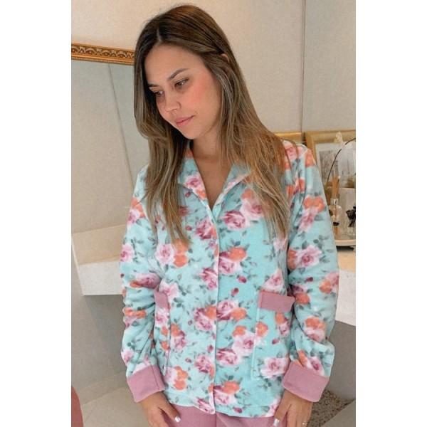 Pijama Feminino Aberto Micro Soft Floral