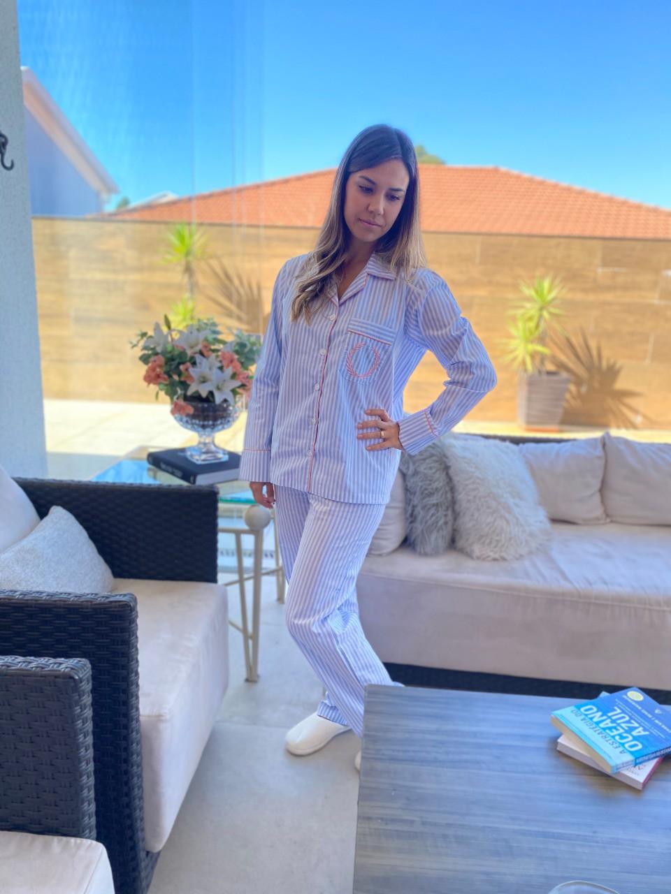 Pijama Feminino Aberto Tricoline Listrado Azul Claro