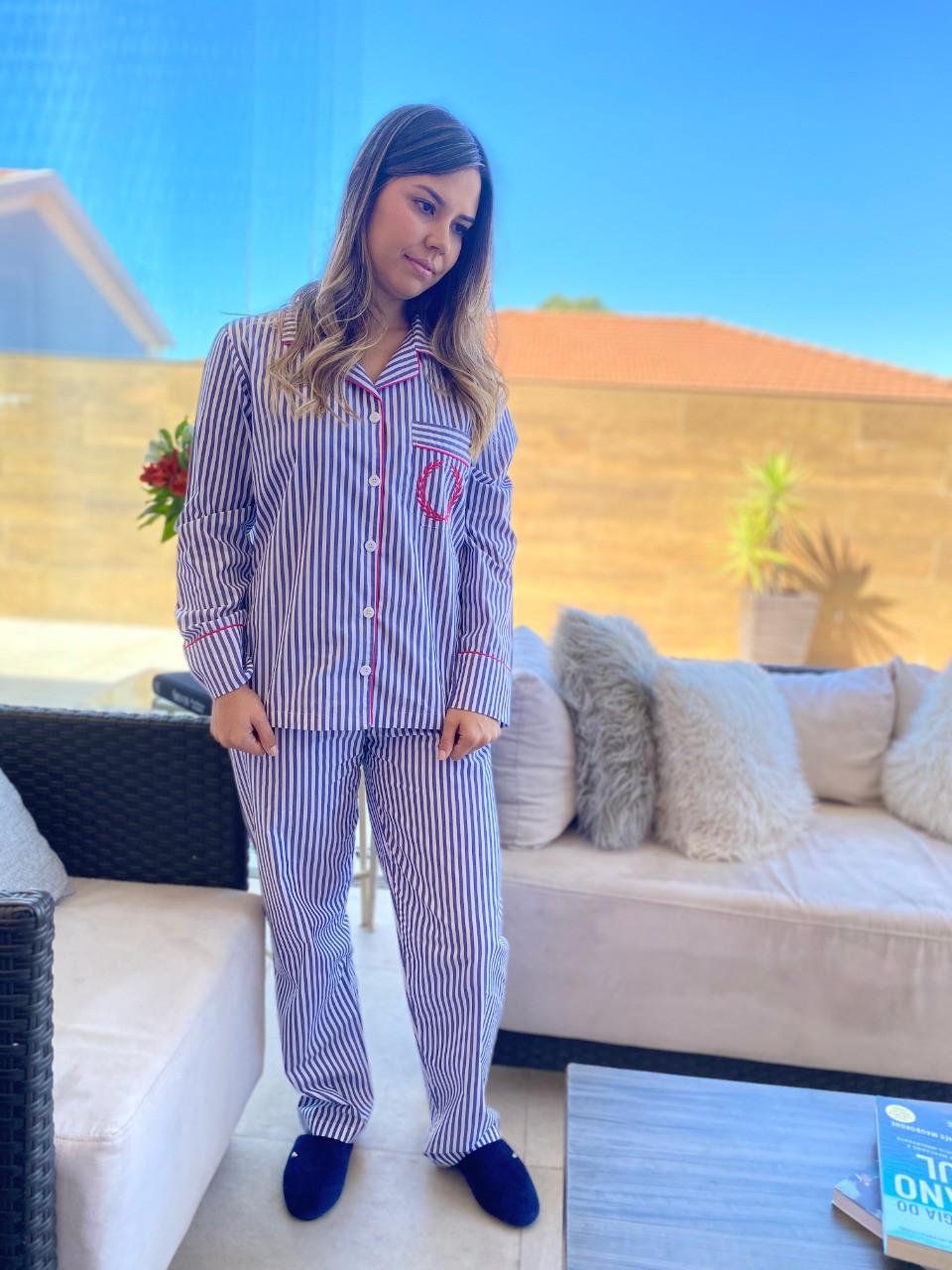 Pijama Feminino Aberto Tricoline Listrado Azul Marinho