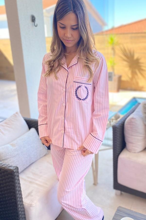 Pijama Feminino Aberto Tricoline Listrado Rosa