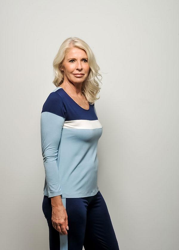 Pijama Feminino Azul Liso